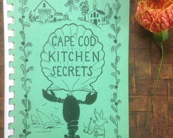 Cape Cod Kitchen Secrets, 8th Edition, 1966, Peter Hunt Ad, Hospital Ad Association, Fundraiser, Spiral Binding, Display Gift Beach Cottage