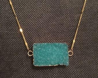 Blue Rectangle Stone Necklace
