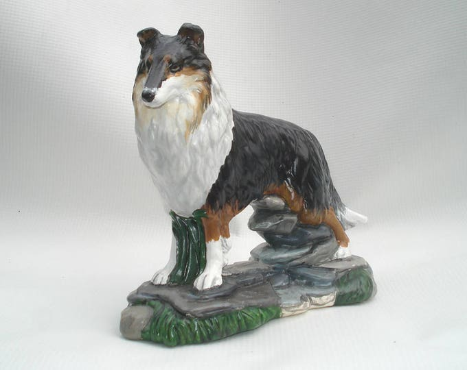 Featured listing image: Rough Collie Figurine Tri-color Collie Figure Herding Dog New Collectible Hand-painted KKay