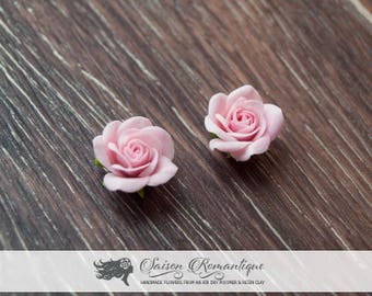 Pink Rose Earrings - Earrings Rose - Polymer Clay Flowers - Mothers Day Gift for Women Stud Earrings Pink Earrings Gift For Her