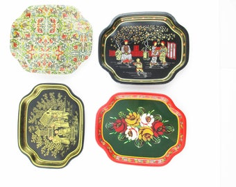 "Your CHOICE  - of - Four 7 1/2"" Tip/Serving Trays - From 'Elite' England  - Retro  - Cafes and Bistros - Change - Notes - Keys"