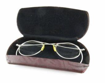Vintage Steel Wire Rim 1920s Eyeglasses - 'Ranger' - Wrap-around Earpieces - Brown With Black Felt Case - Vintage Eye Glasses - Spectacles