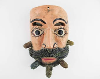 Mask - Lifesize Painted Wood - Painted Face With Moustache and Beard - Mask/Plaque of Guatemala - Wall Art - Powerful - Display