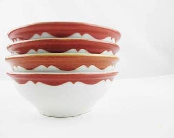 Four 'Chili' Bowls - Ironstone Bowls - Mayer China - Deep Cinnamon/Rose - Heavy Duty Vitrified China Bowls - Detailed Bowls - 1 Cup Bowls