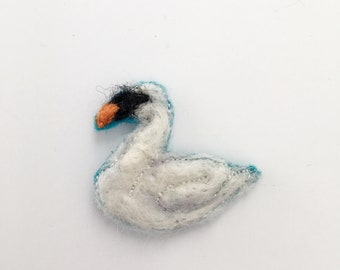 Swan brooch needle felted animal animals swan decor woodland nursery nature jewelry wedding gift for sister swan nursery felt ornaments