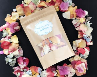 Flower Petals Rainbow Blend of Freeze Dried Hydrangea, Peony, Lilac, + Rose Petals. Soft, Fragrant Flower Petals.