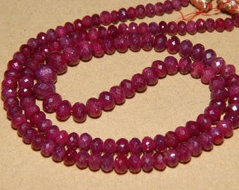 Very Rare Dyed Ruby Faceted Rondelle Beads On Wholesale Price Gemstone Supplies New Arrival.