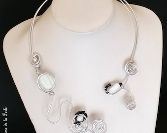 Silver Aluminum and black white wedding necklace