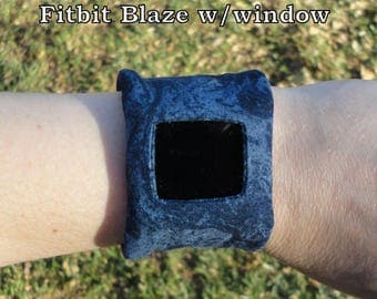 Fitbit Flex, One, Charge, Charge HR, Surge, Alta, Alta HR, Blaze, Flex 2, Charge 2-Blue Marble Print Band-BitWrap
