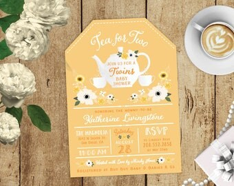 Twin Tea for Two Floral Tea Bag Twins Baby Shower High Tea Party Invitation - Yellow, White, Pink CUSTOM COLOR - Tea Cup Pot Printed Invites