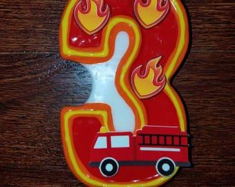 Firetruck birthday candle, Fireman birthday candle, Fire truck birthday