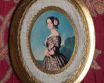 Country Italian Florentine Lady oval gilded gold picture frame art