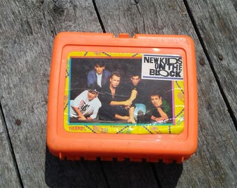 Vintage New Kids On the Block Lunch Box Thermos Brand 1990 Big Step Productions USED Condition BRIGHT ORANGE Vintage Lunch Box Boy Band 1990