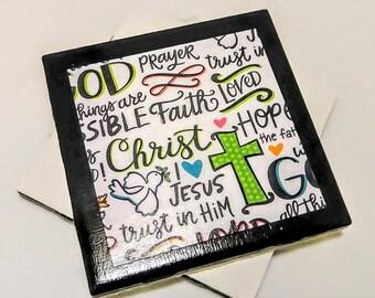 Religious Coasters, Religious Gift, Valentine's Day Gift, Religious Decor, Adult Baptism Gift, Religious Home Decor, Pastor Gift