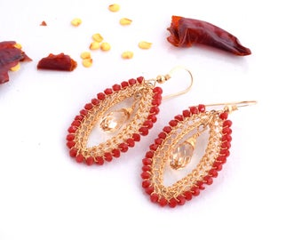 Long Earrings,Red Earrings, Large Statement Earrings,Crystal Jewelry, 14K Gold Filled,Big Red Stone Earrings, Swarovski Crystal Earrings,