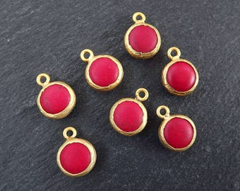 Red Turquoise Stone Pendant Charms 12mm Smooth Cut Stone - 22k Matte Gold plated Bezel - 7pc