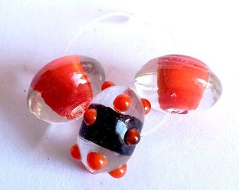 Set of 3 18x10mm Lampwork Glass Beads, transparent and orange