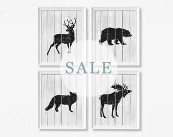 SALE - Set Of Four - Rustic Woodland Animal Art Prints - 11x14 - Grey and Black - Wood Effect Background - Nursery Wall Art - Decor