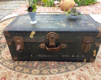 Vintage Trunk Coffee Table Antique Military Chest U.S. Navy Steamer Trunk Storage Chest WWII US Military SteamPunk Coffee Table Rustic Decor