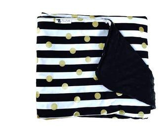 BLACK WHITE STRIPE Baby Blanket- Gender Neutral Chic Monochrome Blanket Gold Dot Blanket, Minky by BizyBelle