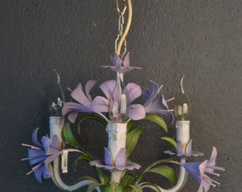 Tole chandelier with purple  lilies