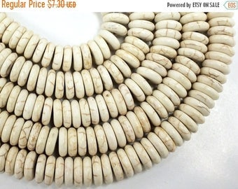 """25% OFF 10mm White Howlite Heishi discs, White Turquoise beads, White ivory disc, 16"""" strand 120 beads, 10mm Rondelles - SMAG149"""