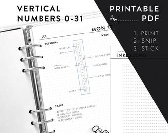 Printable PDF - Vertical Numbers 0-31 / time habit trackers time ladders   Fits 5mm Grid   Print & Stick   Printable Stickers for Planners