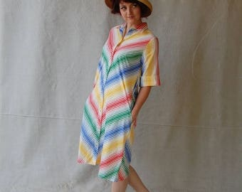 Sexy Summer Sale 60's True Green Red Yellow & Blue Ombre Chevron Striped Print House Dress Snap Front by Models Coat
