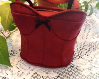 Bustier Corset Bra looking small pocketbook maroon/red with zipper closure