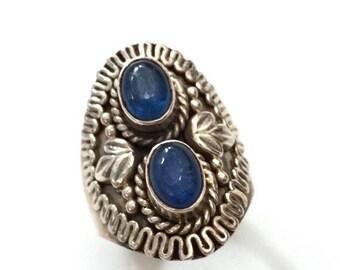Sterling Silver Kyanite Statement Ring, Intricate Metalwork, 925 Sterling, Russian Kyanite, Size 7