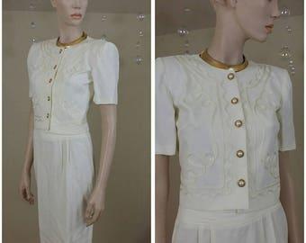 Vintage 90s ivory suit 2 pieces size 2 by Petite Sophisticate