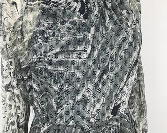Vintage lace dress sheer polyester lacy grey  accordian pleat knife pleat skirt 1970s day sundress volup vintage UK 16 plus size