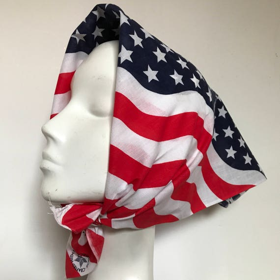Stars and stripes scarf cotton scarf square red white striped stars stripes 1970s vintage rockabilly headscarf turban scooter girl USA flag