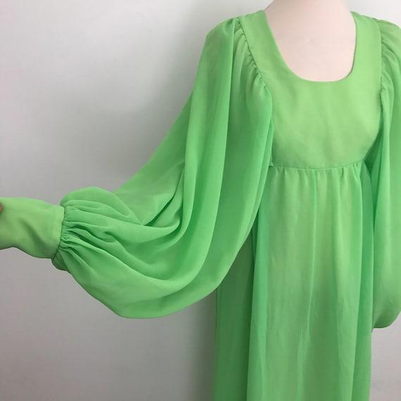 1970s maxi dress sheer chiffon sleeves neon green floaty boho huge bishop lime dramatic long gown hippie 70s festival UK 6 8