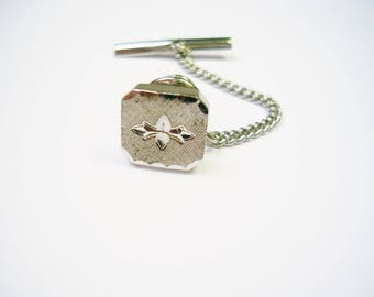 Tie Tack silver Tie Pin with chain