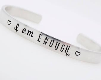 Inspirational Jewelry, Handstamped Bracelet, Custom Personalized Adjustable bracelet, Empowerment Feminist strong independent, gift for her
