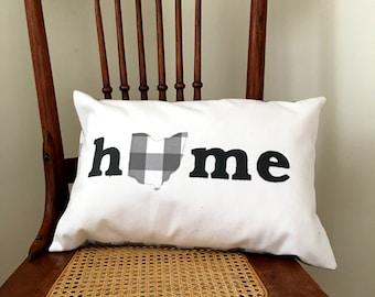 Ohio Home Pillow - I Heart Ohio Gray Farmhouse Check Pillow Cover - Ohio Home Pillow Cover