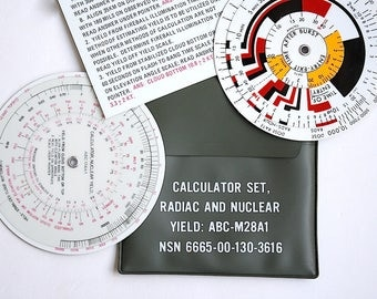 Radiation Calculator - Nuclear Fallout - Radiac and Nuclear Yield Calculator Set - Nuclear Blast Yield Calculator - Vintage Calculator