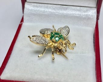 Antique Diamond & Emerald Bumble Bee Brooch l 14KT Yellow Gold Diamond Emerald Brooch