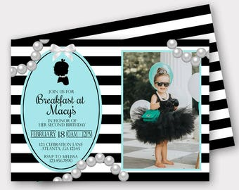 Breakfast At Tiffany's Birthday Invitation | Tiffany's Birthday Invitation  | First Birthday Invitation | Birthday Invitation |