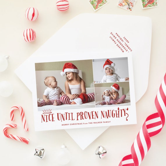 Funny Christmas Cards for Kids, Naughty or Nice Holiday Card with Funny Sayings and Three Photos, Photo Collage, Multi Photo
