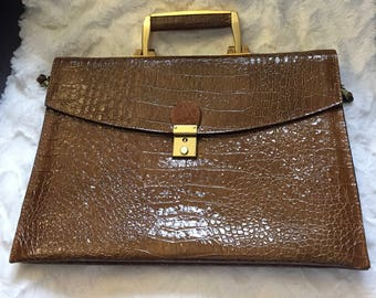 1980's Brown & Gold Womens Briefcase