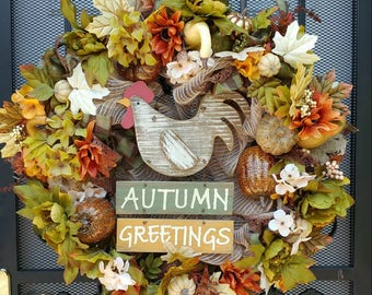 Fall Rooster welcome Autumn burlap mesh wreath