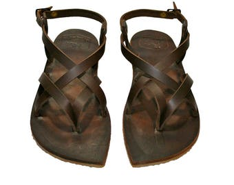 CLEARANCE Sale - Brown Leather Sandals - Design 2a1 = EURO # 38 - Handmade by WalkaholicS