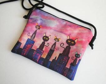 Shoulder bag, crossbody bag, cat bag, printed bag, little bag, cats shoulder bag
