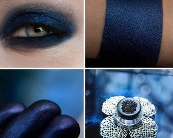 Eyeshadow: Madame Insomnia - Undead. Dark blue satin eyeshadow by SIGIL inspired.