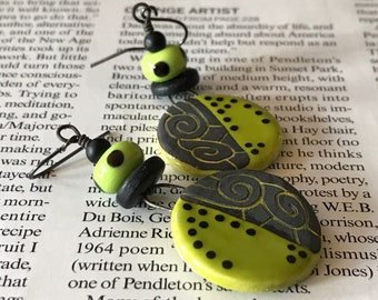 Handcrafted Abstract Contemporary Earring in Lime Green & Black