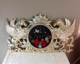 Vintage Silver Unicorn Clock Pegasus Unicorn Clock