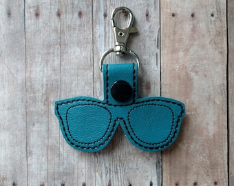 Sunglasses Key Chain, Embroidered on Vinyl in Your Choice of 31 Colors, Snap Tab With Key Ring or Swivel Clip, Beachy Gift, Made in USA