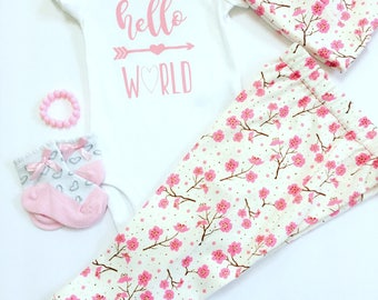 Hello World Newborn Outfit, Newborn Girls Going Home Outfit, Newborn Floral Hospital Outfit, Baby Girl Coming Home Outfit, Baby Gift Sets